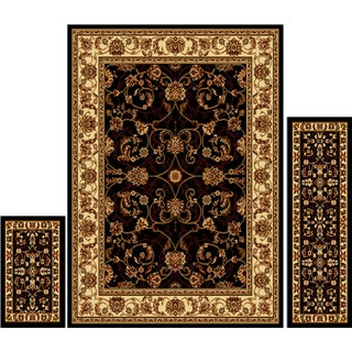 """Home Dynamix Ariana Collection Traditional 3-Piece Area Rug (4'11""""x6'11"""", 1'8""""x4'11"""", 1'8""""x2'8"""") - 5' x 7' (Option: Tan/Black/Ivory)"""