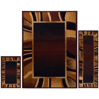 Home Dynamix Ariana Collection Brown 3-Piece Area Rug Set Machine Made Polypropylene