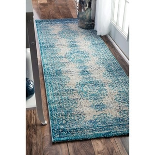 nuLOOM Transitional Vintage Abstract Blue Runner Rug (2'6 x 8')