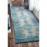 nuLOOM Transitional Vintage Abstract Blue Runner Rug - 2'6 x 8'