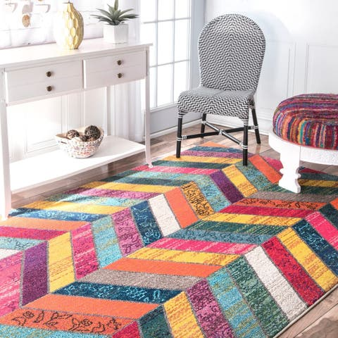 nuLOOM Multi Modern Abstract Patchwork Chevron Area Rug