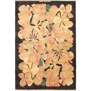 Ecarpetgallery Hand-knotted Finest Ziegler Chobi Black and Yellow Wool Rug (5'5 x 8')