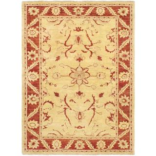 Ecarpetgallery Hand-knotted Chobi Finest Yellow Wool Rug (5'10 x 8')