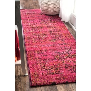 nuLOOM Traditional Vintage Modern Cherry Pink Runner Rug (2'6 x 8')