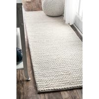 nuLOOM Handmade Casual Braided Wool Off-white Runner Rug (2'6 x 8')