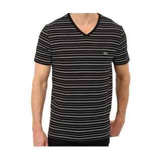 Lacoste Black and White Striped V-neck T-Shirt