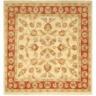Ecarpetgallery Hand-knotted Chobi Finest Beige Wool Rug (8' x 8'6)