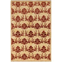 Ecarpetgallery Hand-knotted Finest Ziegler Chobi Beige and Red Wool Rug (5'5 x 8'1)