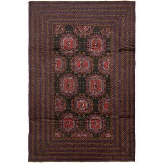 Ecarpetgallery Hand-knotted Royal Balouch Black and Red Wool Rug (6'5 x 9'10)