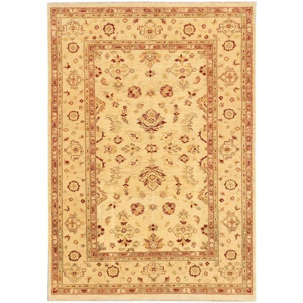 Ecarpetgallery Hand-knotted Chobi Finest Beige Wool Rug (6' x 8'6)