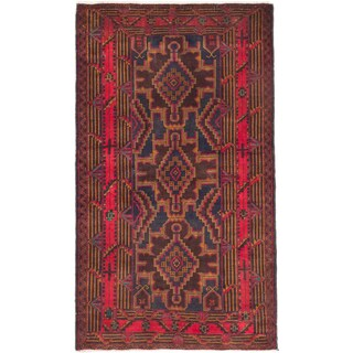 Ecarpetgallery Hand-knotted Royal Baluch Blue and Red Wool Rug (3'9 x 6'6)