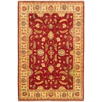 Ecarpetgallery Hand-knotted Chobi Finest Red Wool Rug (6'1 x 9'1)