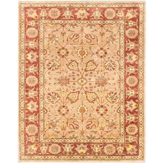 Ecarpetgallery Hand-knotted Chobi Finest Beige and Brown Wool Rug (6'7 x 8'3)