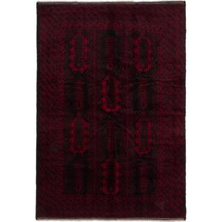 Ecarpetgallery Hand-knotted Finest Rizbaft Black and Red Wool Rug (6'8 x 9'9)