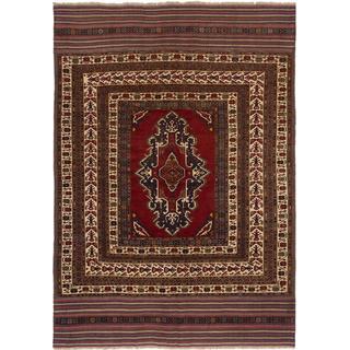 Ecarpetgallery Hand-knotted Tajik Caucasian Red Wool Rug (6'6 x 9'2)