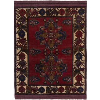 Ecarpetgallery Hand-knotted Tajik Caucasian Blue and Red Wool Rug (6'9 x 9')