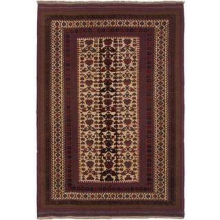 Ecarpetgallery Hand-knotted Tajik Caucasian Beige and Red Wool Rug (6'7 x 9'4)