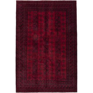 Hand-knotted Finest Rizbaft Red Wool Rug - 6'5 x 9'7