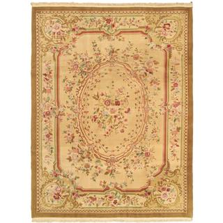 Ecarpetgallery Hand-knotted Sino Persian Yellow Wool Rug (7'4 x 9'7)