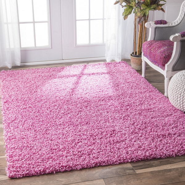 NuLOOM Alexa My Soft And Plush Solid Pink Kids Shag Rug (5