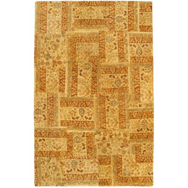 Ecarpetgallery Hand-knotted Patch Deluxe Yellow Wool Rug - 5'2 x 8'