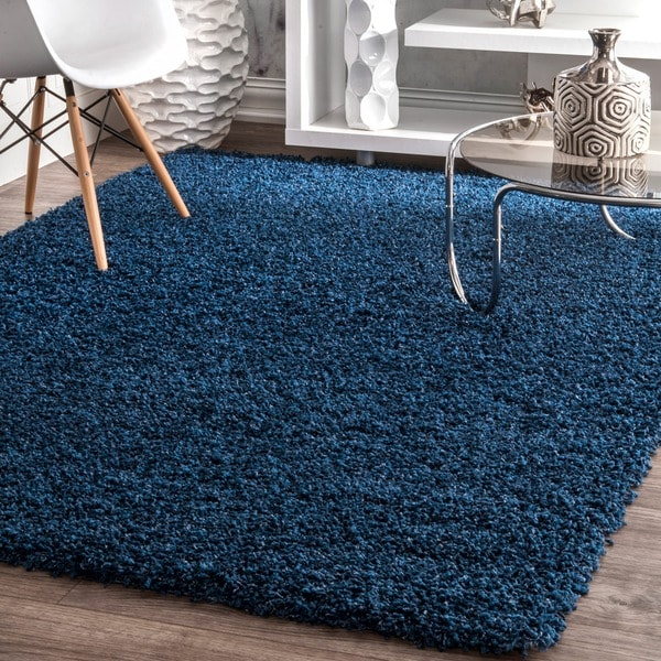 Clay Alder Home Eggner Solid Navy Shag Rug by Clay Alder Home