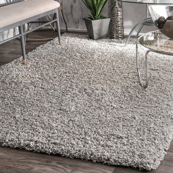 nuLOOM Alexa My Soft and Plush Solid Silver Shag Rug (8' x 10')