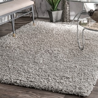 nuLOOM Alexa My Soft and Plush Solid Silver Shag Rug (9'2 x 12')