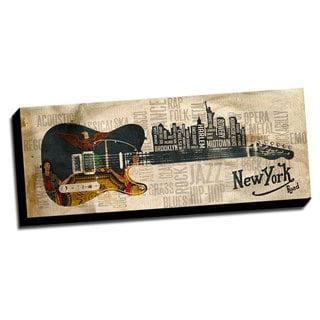 Music Road New York 14x36 Panoramic Printed on Framed Ready to Hang Canvas