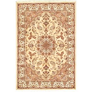 Ecarpetgallery Hand-knotted Kashmir Beige Wool and Silk Rug (6'1 x 8'11)