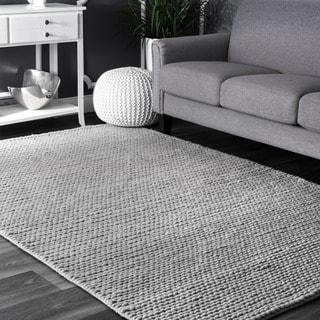 nuLOOM Handmade Casual Braided Wool Light Grey Rug (10' x 14')