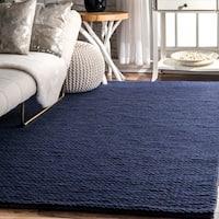 nuLOOM Handmade Casual Braided Wool Navy Rug - 4' x 6'