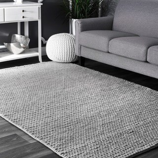 nuLOOM Handmade Casual Braided Wool Light Grey Rug (4' x 6')