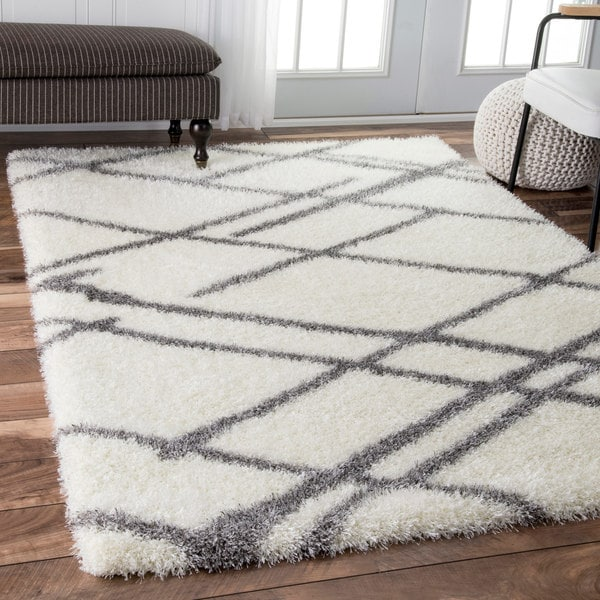 ... White Shag Rug 8x10 Nuloom Contemporary Soft And Plush Broken Lattice  Shag ...
