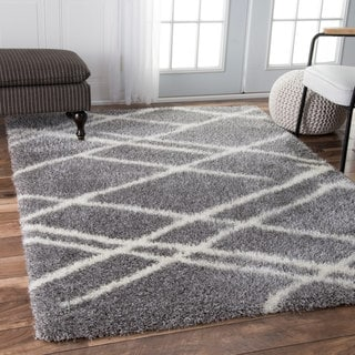nuLOOM Contemporary Soft and Plush Broken Lattice Shag Grey Rug (4' x 6')