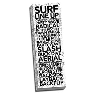 Surf Time Words. Printed on Ready to Hang Framed Stretched Canvas