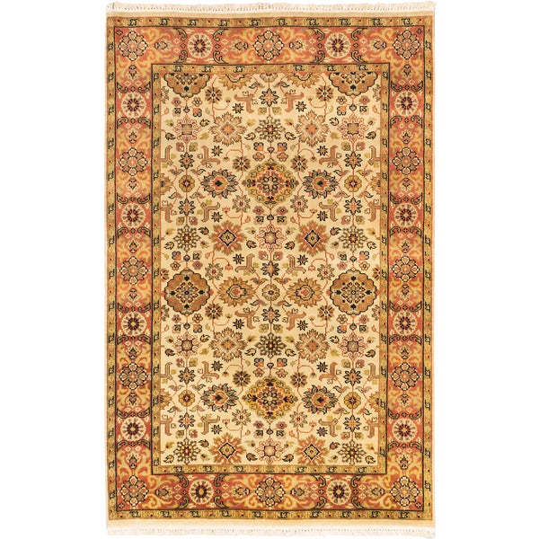 Ecarpetgallery Hand-knotted Royal Ushak Brown and Yellow Wool Rug (5'2 x 8')