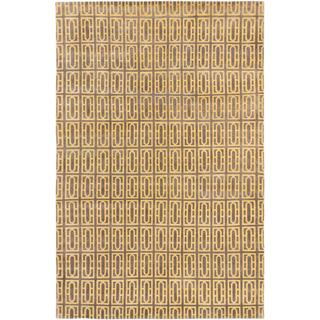 Ecarpetgallery Hand-knotted Royal Ushak Grey and Yellow Wool Rug (5'5 x 8'4)
