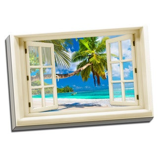 Ocean and White Sand Beach View Printed on Framed Ready to Hang Canvas