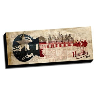 Houston Music Road Canvas Printed on Ready to Hang Framed Stretched Canvas