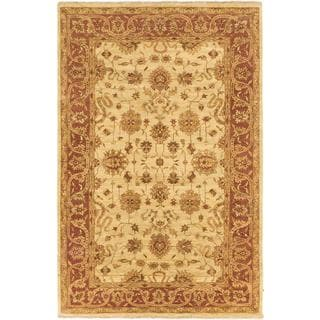 Ecarpetgallery Hand-knotted Royal Ushak Brown and Yellow Wool Rug (5'6 x 8'5)