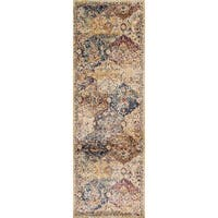 Traditional Ivory/ Multi Damask Distressed Runner Rug - 2'7 x 8'