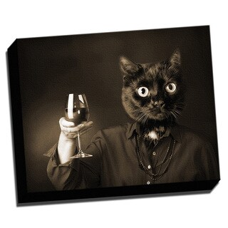Wine Cat Misplaced Head 16x20 Printed on Framed Ready to Hang Canvas