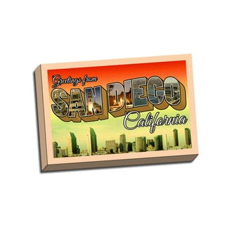 San Diego Retro Postcard 24 x16 Printed on Framed Ready to Hang Canvas
