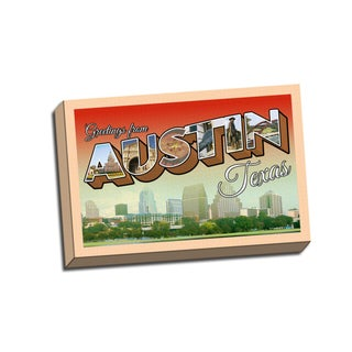 Austin Retro Postcard 24 x16 Printed on Framed Ready to Hang Canvas