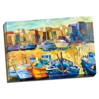 Wharf Boats 24x36 Painting Art Printed on Framed Ready to Hang Canvas