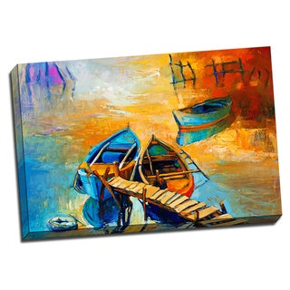 Boats on the Old Pier 24x36 Painting Art Printed on Framed Ready to Hang Canvas