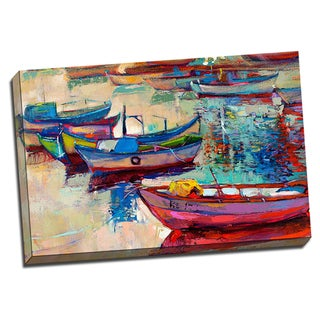 Docked Boats 24x36 Painting Art Printed on Framed Ready to Hang Canvas