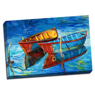 Two Boat 24x36 Colorful Painting Art Printed on Framed Ready to Hang Canvas