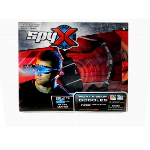 SpyX Night Mission Goggles - look cool, flip our scope for spying, twin light beams for the dark - Black